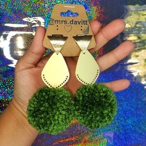 pompom earrings holiday green gold